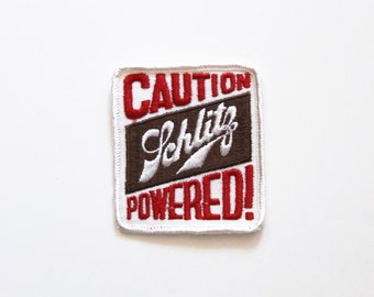 "Vintage Caution Schlitz Powered Beer Embroidered Patch 3.5"" x 3"""
