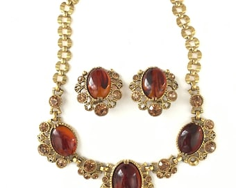 Vintage Selro Sellini Corp Necklace and Clip Earring Set