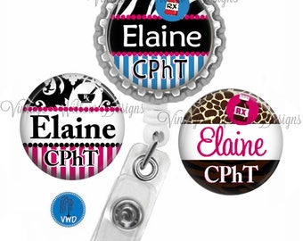 Personalized CPhT (Certified Pharmacy Tech) Retractable ID Badge Reel with (3) Charm Magnets