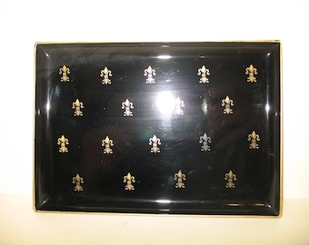 Four Vintage Davar Plastic Canape Trays Lacquer Ware Fleur de lis design Made in Japan