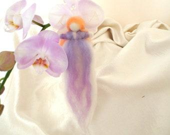 Wool fairy LIGHT PURPLE art doll, needle felted soft sculpture doll