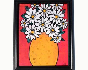 Daisy Painting - Flower Still Life - Original Mixed Media Floral Painting by Claudine Intner - Daisies Art