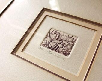 Iris. Vintage framed etching, signed numbered JE Fischer.