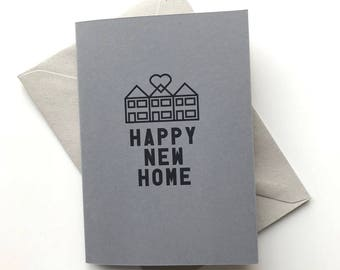 HAPPY New Home new house greetings card with original terrace house love heart illustration - handmade in Manchester UK
