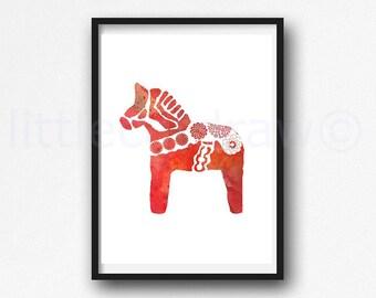 Dala Horse Print Red Horse Watercolor Painting Print Swedish Dala Horse Print Horse Lover Gift Horse Wall Decor Wall Art