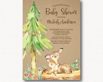 Deer Baby Shower Invitation, Woodland, Forest, Rustic, Kraft, Baby Shower, Cute, Gender Neutral, Boy, Girl, Unique, Digital, Printable