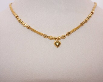 Indian Solid 22k Yellow Gold Snake Mesh Heart Pendant Choker Necklace, 916 Gold Bead Necklace