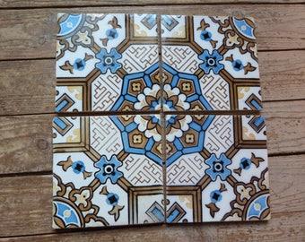 Antique floor mosaic tile architecture salvaged terracotta, French vintage tiles ceramic architectural salvage decor, jeanne d arc living