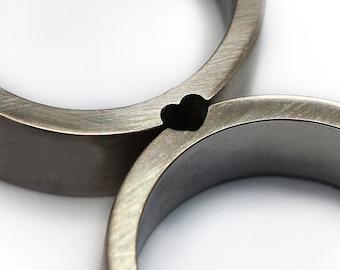 Heart wedding rings, gift ideas, Wedding ring set, Sterling silver band, Men wedding band, Gift for her,Men ring set,Promise rings,Love ring