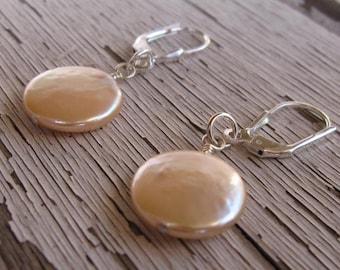 fatdog Earrings - ECP108 Freshwater Coin Pearl Blush Large