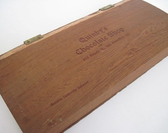 Vintage Quinby's Chocolate Shop California Redwood Box
