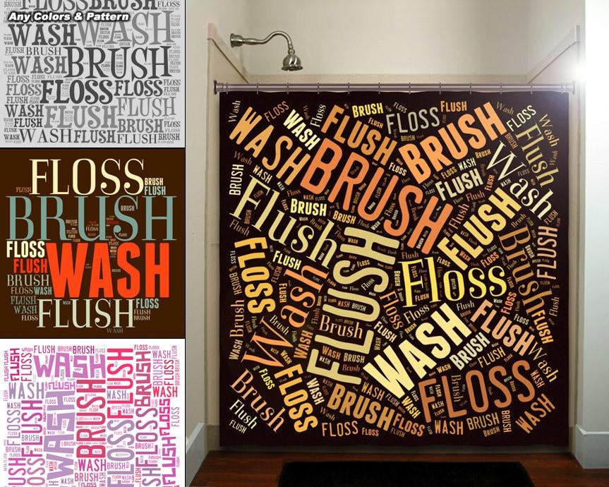 Flush Floss Brush Wash Bathroom Rules shower curtain extra