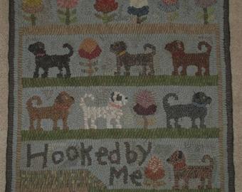 Primitive Rug Hooking Pattern-Garden Dogs