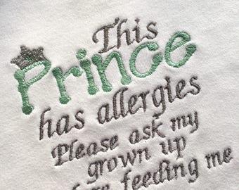 Allergy Bib, Dairy Intolerance Alert,  Allergy Warning Baby bib, Coeliac Warning, Nut Allergy Alert, Food Intolerance Alert, Boys Bib