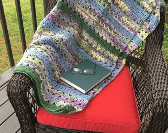 Sale--Granny stitch hand crocheted blanket...shades of green and purples Vegan yarn