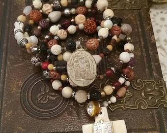 Upcycled Vintage Multi Religious Rosary Bead Assemblage Wrap Bracelet, ooak,Repurposed
