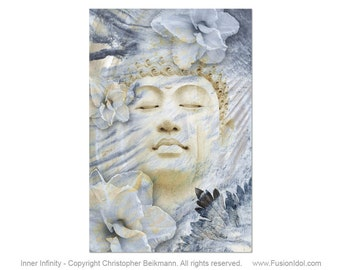 Inner Infinity - Blue and Tan Buddha Art Canvas - Ethereal Zen Buddhist Art by Artist Christopher Beikmann