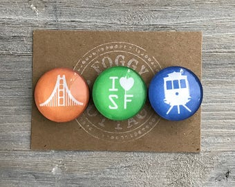 San Francisco City Magnets, Set of 3, gift ideas