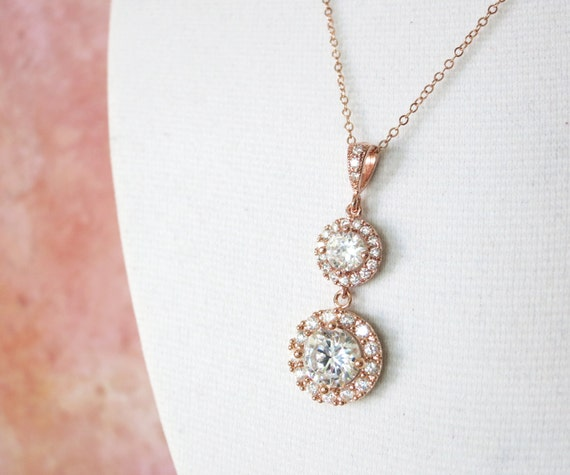 Heather - Rose Gold Luxe Cubic Zirconia Round Drop Rose Gold FILLED necklace, Halo style crystal Wedding Bridal bridesmaid necklace