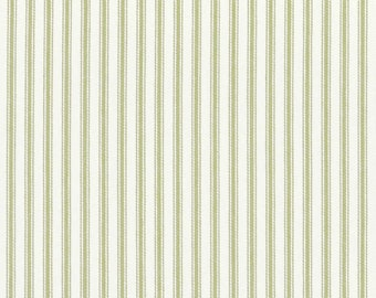 King size Bedskirt with pleats sage green, ticking stripe