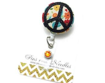 Peace Flower ID Badge Reel - Retractable Badge Reel - Cute Id Badge Reels -Fabric Badge Holder - Fabric ID Badge Reel - Flower ID Badge Reel