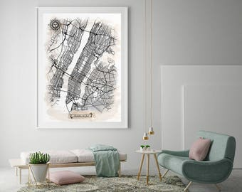 MANHATTAN New York City Watercolor Map Art Black Ink and Light Watercolor Vintage City Map Large Size Graphic Drawn Wall Art Canvas Map