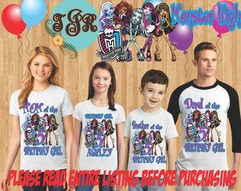 MONSTER HIGH Birthday GIRL family Shirts design Raglan Long Sleeve Short Sleeve Tank tops Infant/Toddler Sizes Ladies Cut Tshirt onesie