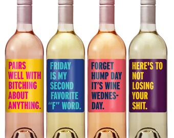 Cheer Up Wine Label Set - Funny Wine Labels - Personalized Custom Wine Labels - Funny Birthday Gift - Just Because - Funny Christmas Gift