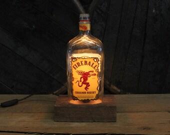 Fireball Whiskey Bottle Lamp / Edison Desk Lamp / Whiskey Bottle Light / Man Cave Reclaimed Wood Base, Edison Bulb, Father's Day Gift