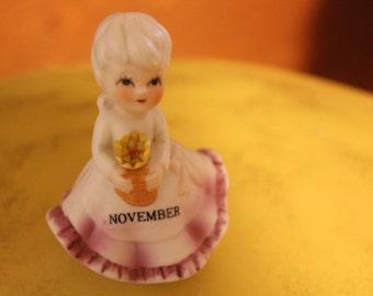 Vintage Porcelain November Birthday Girl Figurine