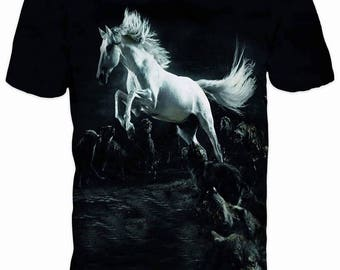 Beautiful 3D White Horse Steed Sublimation Men T-shirt