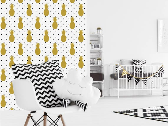 ananas papier peint adh sif repositionnable. Black Bedroom Furniture Sets. Home Design Ideas
