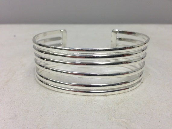 Bracelet Cuff Silver Plated Bracelet Handmade Mexico Silver Five Band Cuff Bracelet Unique
