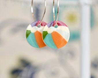 Beach Ball Earrings, fun summer jewelry