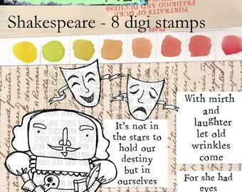 Shakespeare-- 8 digi stamp bundle in jpg and png files