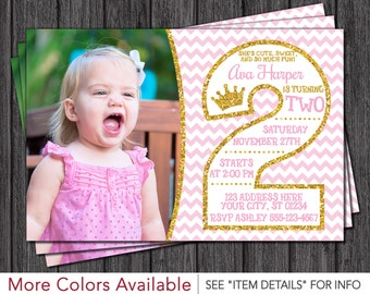 Pink and Gold 2nd Birthday Invitations - Second Birthday Invitation - Princess Invite