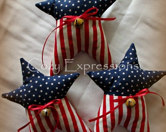 Primitive Patriotic Stars | Patriotic decor | Red white blue decor | Fourth of July decoration | Prim Star bowl fillers | Americana decor