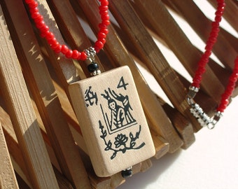 Mah Jong Necklace / Mah Jong Tile Necklace / Wood Pendant / Game Piece / Red / Black / Wood / Asian / OOAK / Fun / Gift for Her / Majong