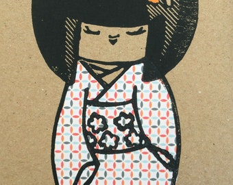 Kokeshi doll chine-collé linocut hand printed cards mixed pack of two. Original print/art/unique/relief print/artwork/birthday card.