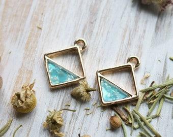 set of 2, blue opal charm, gold charm, square charm, minimal charm, geometric charm, 19mm x16mm