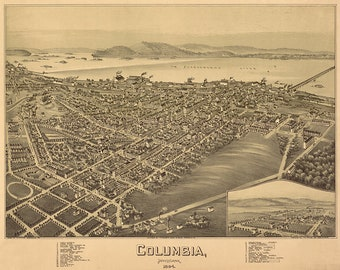 Map of Columbia, Lancaster County, Pennsylvania, PA 1894.  Vintage restoration hardware home Deco Style old wall reproduction map print.