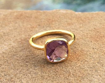 Amethyst Ring, 25% OFF, Amethyst Square Gold Ring, Stackable Cushion Cut Ring