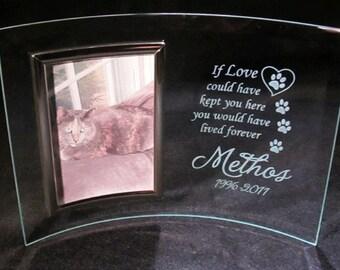 Pet Memorial Frame, Cat Memorial Frame, Personalized Pet Memorial Frame, 3x5 Curved Glass Frame, Cat Frame, Dog Frame