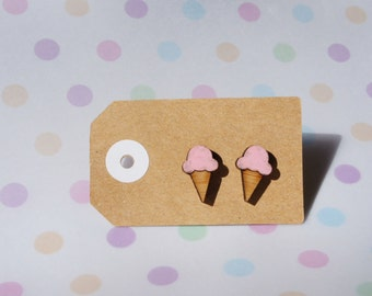 Hand painted wooden icecream earrings
