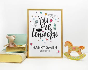 A4 or A3 Personalised Baby/Children's print, perfect for your special little one - FREE POSTAGE