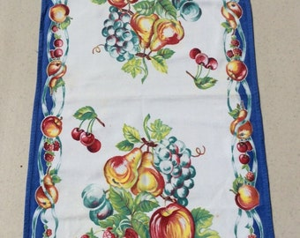 Vintage Towel Bright Fruit Pears Apples Strawberries Retro Kitchen Tea Towels