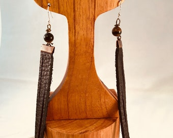 Handmade Earrings, Tan Leather Fringe with Copper Accent, Tigers Eye and Copper French Wires