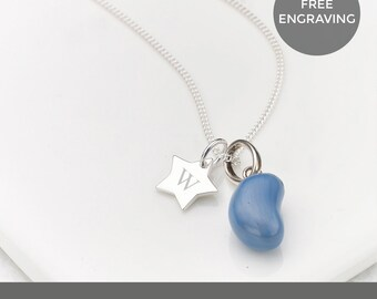 Personalised Blueberry Jelly Bean Star Necklace