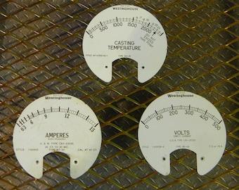 Cool Steampunk Parts - Lot of 3 Vintage Metal Westinghouse Gauge Labels: Casting Temperature, Amperes, Volts