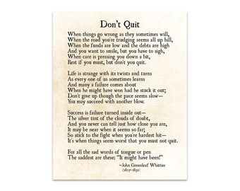 Don't Quit Poem, John Greenleaf Whittier Quote, Graduation Gift, Grad Gift, Inspirational Quote, Poetry Wall Art Print, Book Page Art Print